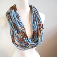 Light Blue Brown Striped Infinity Scarf Upcycled Cowl Scarf Eco Winter Accessories Gifts Under 75 Black Friday Etsy Cyber Monday Etsy
