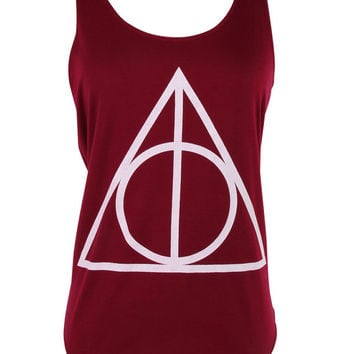 Harry potter master of death triangle print Tank top vest womens ladies tshirt