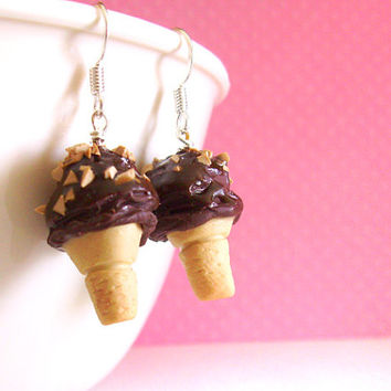 Ice Cream Cone Earrings with Chocolate Nut Flavor, Kawaii Cute Polymer Clay Fake Food, Brown, Sweet Accessories, Miniature Desserts
