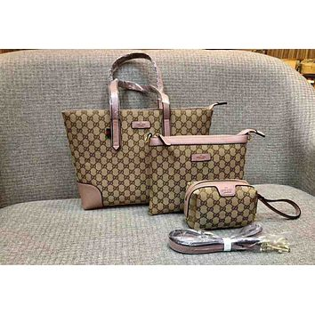 Gucci Three Piece Suit Women Chain Bag Big And Small Bag B-AGG-CZDL Pink