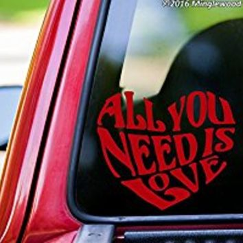 "All You Need is Love vinyl decal sticker 6"" x 5"" Beatles Inspired Heart Quote YELLOW"