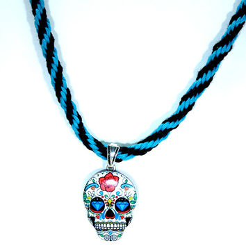 Dia de los Muertos Sugar Skull Pendant on a Turquoise Black Woven Necklace