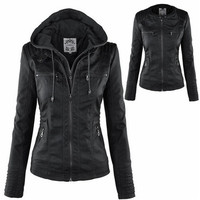 New Stunning Women's Stylish Slim Removable Hooded Leather Jackets [8805181959]