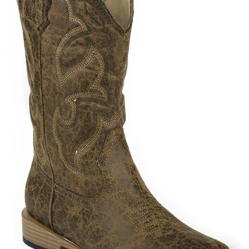 Roper Youth Boot Western Sqtoe Faux Leathr Sole Boots All Over Tan Faux Sq. Toe