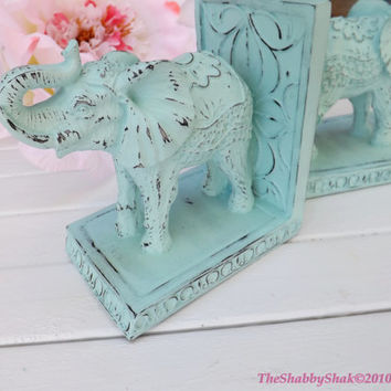 Elephant Book Ends / Shabby Chic / Office Decor / Elephant Statue /Aqua Home Decor