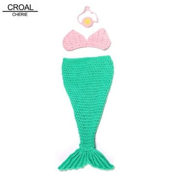 Baby Mermaid Costume Bikini Toddler Newborn Photography Props Fashion Pink Green Clothing Suit Crochet Baby Hat With Headband