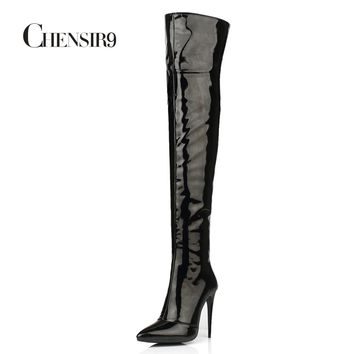 CHENSIR9 Patent leather + PU women thigh high boots Winter Over The Knee Boots Nightclub Steel tube dance Boots 34-43 BH05B