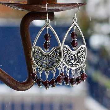 Red Garnet Stone Teardrop Earrings ~ Ornate Chandelier Earrings ~ Statement Jewelry ~ January Birthstone ~ Gala Evening Wear ~ Bohemian Red