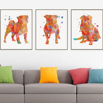 Pug Watercolor Art Print, Pug Painting, Set of 3 Prints, Pug Wall Art, Pug Wall Decor, Dog Lover Gift, Pug Poster, Watercolor Art, Gift Idea