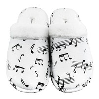 Leisureland Women's Cotton Flannel Cozy Slippers Music Notes