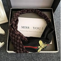 GUCCI New Popular Women Double G Letter Red Green Stripe Bee Embroidery Cross Headband Hair Band Dark Coffee I12539-1