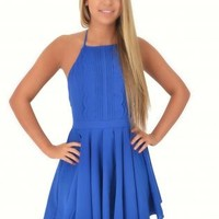 Blue High Collar Open Back Mini Dress