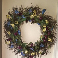 16 inch wildflower wreath, summer flowers, wildflowers, summer wreath, spring wreath, fall wreath, rustic wreath, primitive wreath