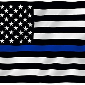 ANLEY® [Fly Breeze] 3x5 Foot Thin Blue Line USA Flag - Vivid Color and UV Fade Resistant - Canvas Header and 4 Rows Stitched - Honoring Law Enforcement Officers Flags Polyester with Brass Grommets