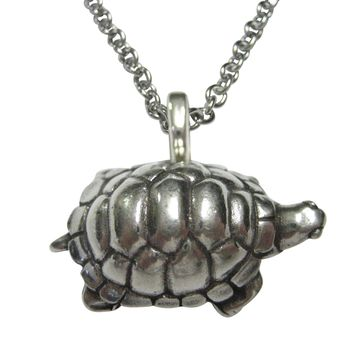 Silver Toned Round Turtle Tortoise Pendant Necklace