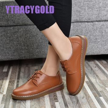 YTracyGold 2018 Spring women sneakers oxford shoes flats shoes women leather suede lace up boat shoes round toe flats moccasins