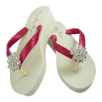 Ivory wedge flip flops- white- Custom created -Bride Bridesmaid Flip Flops- fuchsia/ any wedding color-  heel or flats