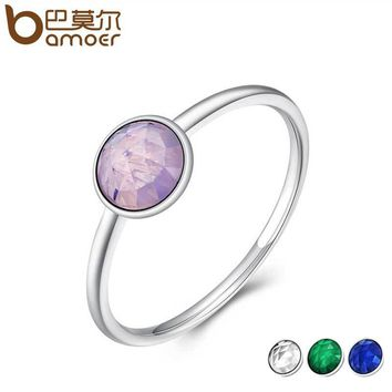 BAMOER Genuine 925 Sterling Silver October Birthstone Droplet, Opalescent Pink Crystal Finger Ring Women Wedding Jewelry PA7611