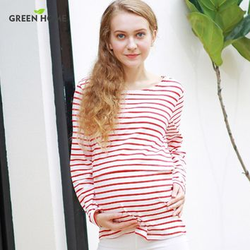 2016 Cotton long sleeve Winter Maternity Clothes Striped Pregnant clothes T shirt for Pregnancy woman Breastfeeding Top