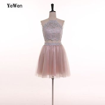 YeWen Prom Dress Short Halter Backless Party Special Occasion Dresses 2018 Homecoming Bridesmaid dresses Robe De Soiree