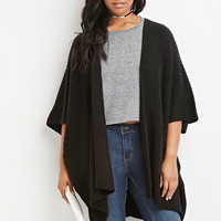 Plus Size Cable Knit Poncho