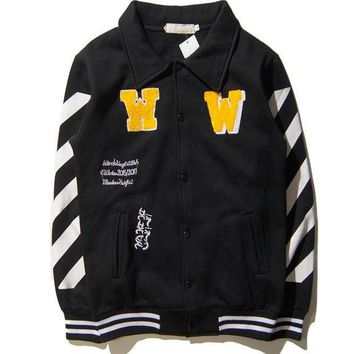 DCCKJN3 OFF WHITE Sports On Sale Hot Deal Couple Jacket Baseball [11501028364]