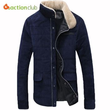 ACTIONCLUB Hot-selling Plus Size Fleece Corduroy Wadded Jacket Men Cotton Filling Thickening Wadded Coat Men Winter Jacket