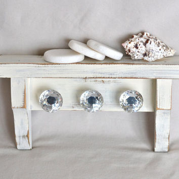Small Vintage White Distressed Shabby Chic Shelf With Glass Knobs / Hooks