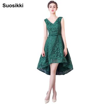 high low prom dress long V-neck short front formal  lace evening dresses  abendkleider formal dress robe de soiree longue