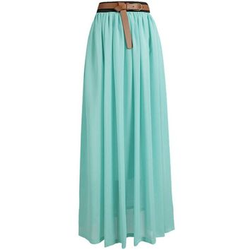Tobey Vintage Women's Pleated Long Chiffon Waist Maxi Boho Beach Skirt Dress (Tea)necklace included, one size