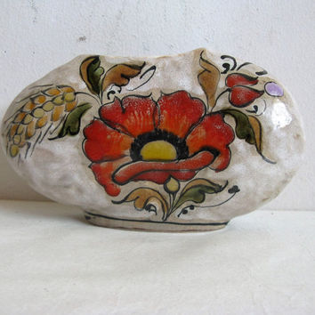 Elio Erhart Schiavon Poppy Beautiful Handpainted Ceramic Vase 1970s Vintage Italian Floral Primitive Pottery Home Décor
