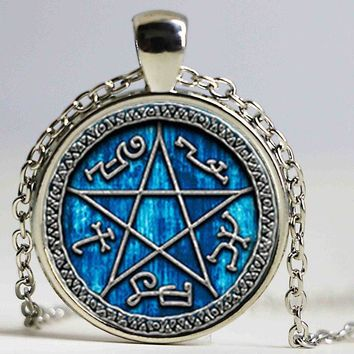 1pair Supernatural Devils Trap necklace jewelry glass Cabochon necklace