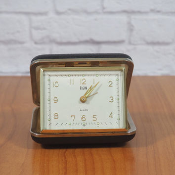 WORKING Vintage Elgin Travel Alarm Clock Black and Gold with Luminous Dial