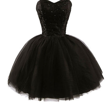 Black Lace Homecoming Dresses,Strapless Sequins Mini Homecoming Dress