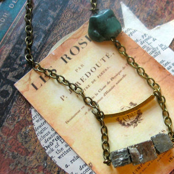 pyrite necklace organic freeform modern hipster