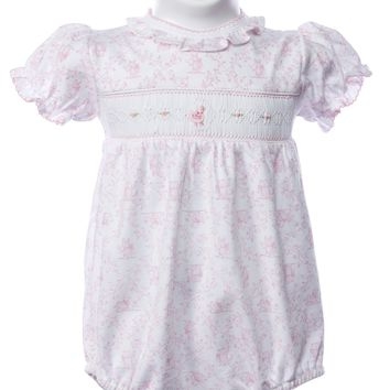 Baby Threads Girls Smocked Toile Onesuit