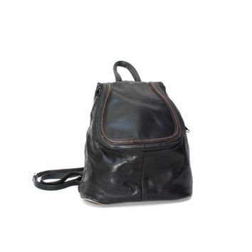 GRUNGE black leather 80s 90s BACKPACK slouchy goth mini knapsack