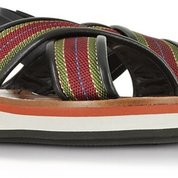 Marni Striped Canvas and Leather Flatform Sandals