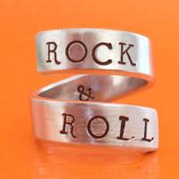 Rock And Roll Ring - Adjustable Wrap Ring - Handed Stamped
