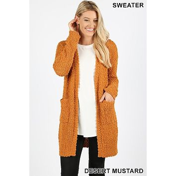 Zenana popcorn sweater cardigan with pockets