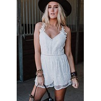 Channing Lace Romper - White