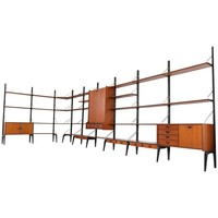 Large Freestanding Modular Wall Unit by Louis Van Teeffelen for Webe, 1950s