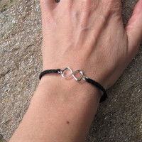 Infinity bracelet sterling silver cotton crocheted with black glass beads gothic lolita jewelry