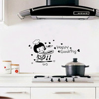 Happy cooking kitchen decorations wallpaper Removable wall sticker decor Art Home Home Decor