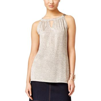 INC Womens Metallic Sleeveless Halter Top