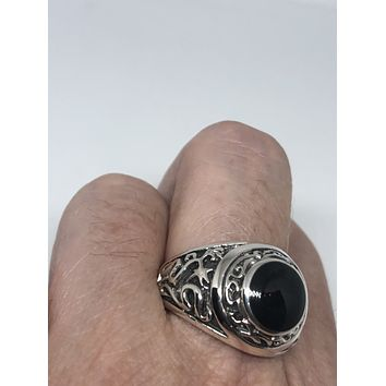 Vintage 1970 Gothic Sterling silver Genuine Black Onyx Mens Ring