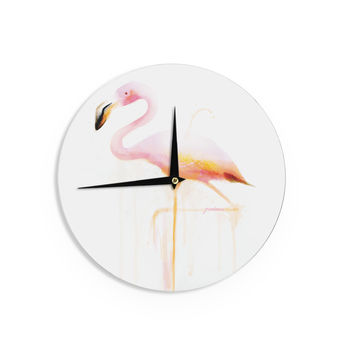 "Geordanna Cordero-Fields ""My Flamingo"" Pink White Wall Clock"