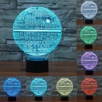 Star Wars Death Decorating 3D LED USB Table Colorful Lamp