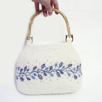 Knitted Embroidered Bag  White with blue leafs by MuffinTopKnits