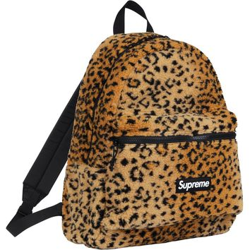 Supreme Leopard Fleece Backpack Yellow